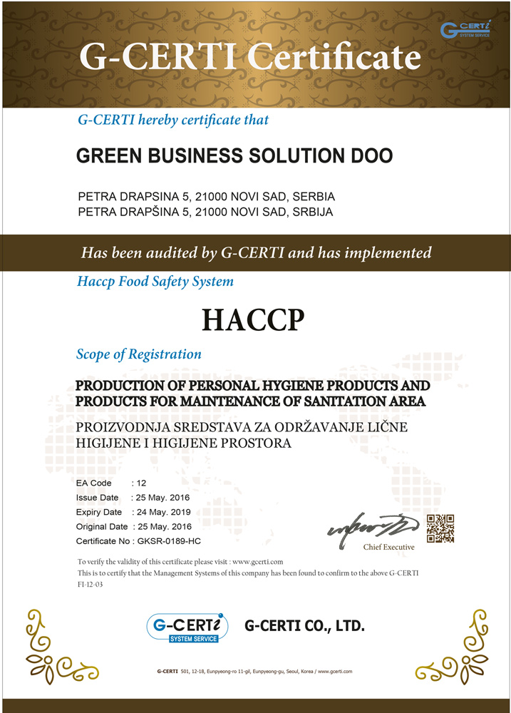 HACCP: Production of Personal Hygiene Products and Products for Maintenance of Sanitation Area