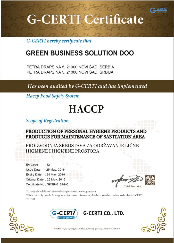 HACCP: Proizvodnja sredstava za održavanje lične higijene i higijene prostora