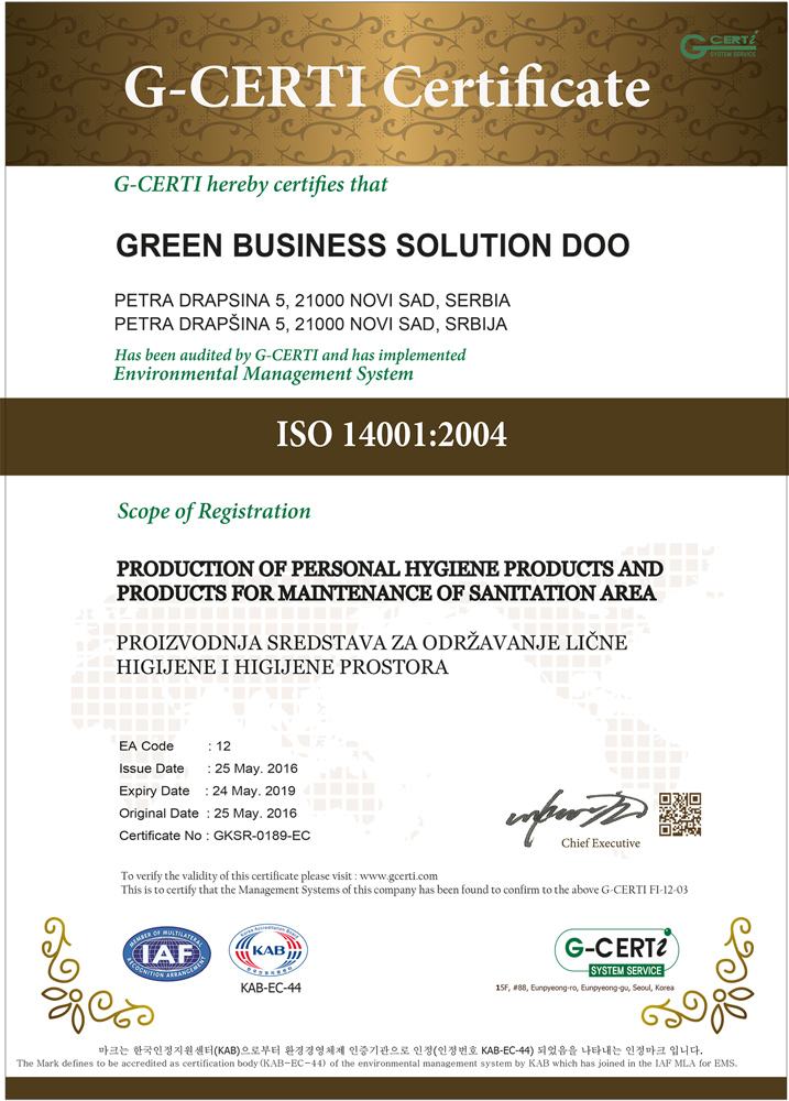 ISO 14001: Production of Personel Hygiene Products and Products for Maintenance of Sanitation Area