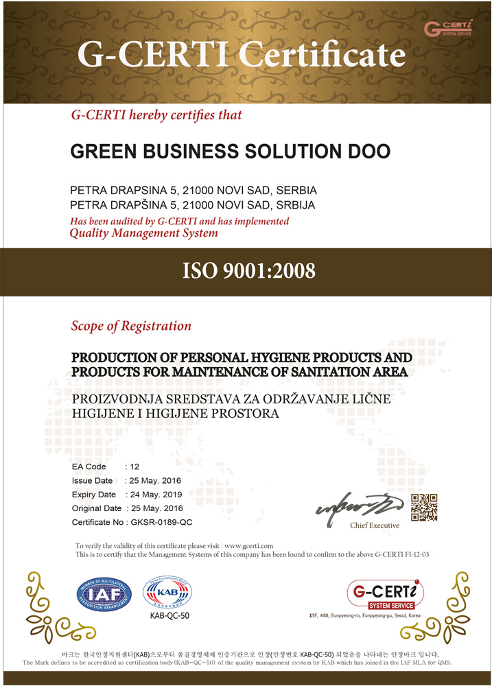 ISO 9001: Production of Personal Hygiene Products and Products for Maintenance of Sanitation Area